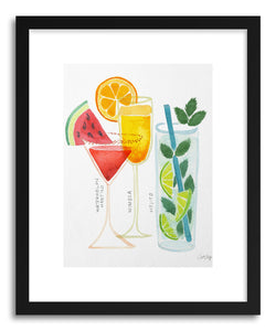 hide - Art print 3 Summer Drinks by artist Cat Coquillette in natural wood frame