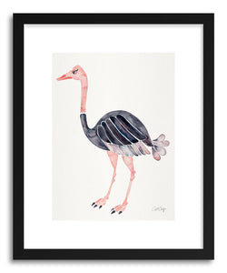hide - Art print Ostrich by artist Cat Coquillette in white frame