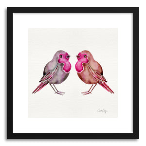 hide - Art print Pink Birds by artist Cat Coquillette in white frame