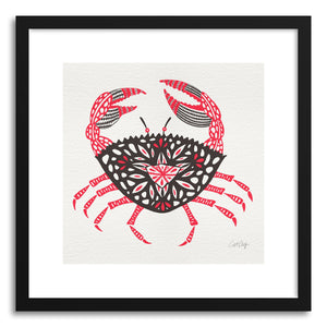 hide - Art print Pink Crab by artist Cat Coquillette in white frame
