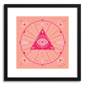 hide - Art print Pink Evil Eye Mandala by artist Cat Coquillette in white frame