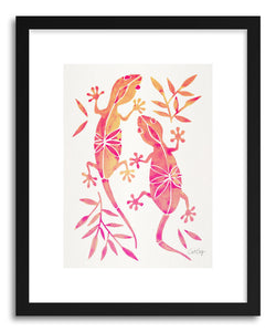 hide - Art print Pink Geckos by artist Cat Coquillette in white frame