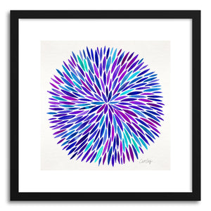 hide - Art print Purple Watercolor Burst by artist Cat Coquillette in white frame