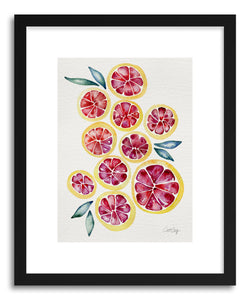 hide - Art print Grapefruits by artist Cat Coquillette in white frame