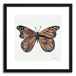 hide - Art print Rose Gold Butterfly by artist Cat Coquillette in natural wood frame
