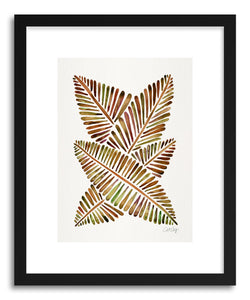 hide - Art print Sepia Banana Leaves by artist Cat Coquillette in white frame