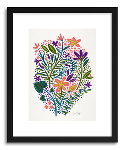 hide - Art print Teal Blush Garden by artist Cat Coquillette in white frame
