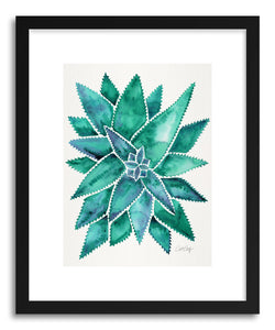 hide - Art print Turquoise Aloe Vera by artist Cat Coquillette in white frame