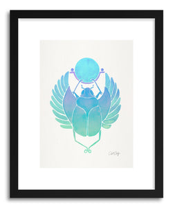 hide - Art print Turquoise Scarab by artist Cat Coquillette in natural wood frame