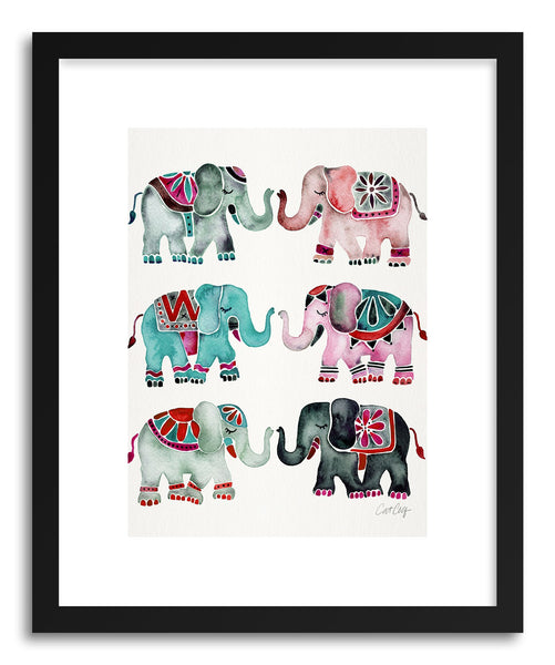 Art print Turquoise Red Elephants by artist Cat Coquillette