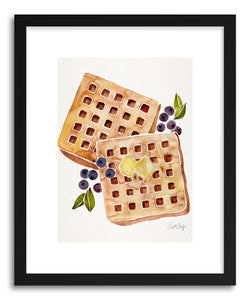hide - Art print Waffles by artist Cat Coquillette in white frame