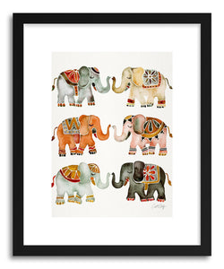 hide - Art print Warm Elephants by artist Cat Coquillette in white frame