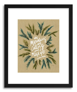 hide - Art print Mountains Kraftwhite by artist Cat Coquillette in white frame