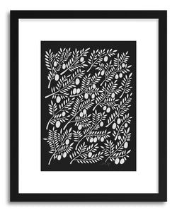 hide - Art print White Olive Branches by artist Cat Coquillette in white frame