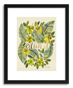 hide - Art print Yellow Killin It by artist Cat Coquillette in white frame