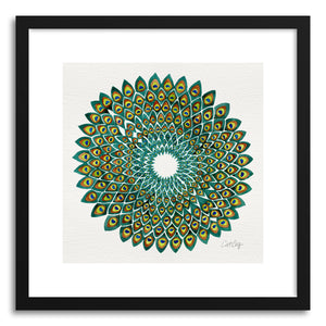 hide - Art print Original Peacock by artist Cat Coquillette in white frame