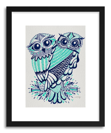 Fine art print Owls Navy Turquoise by artist Cat Coquillette