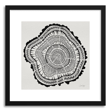 Fine art print Tree Rings Black On White by artist Cat Coquillette