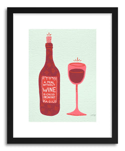 hide - Art print Wine by artist Cat Coquillette in white frame