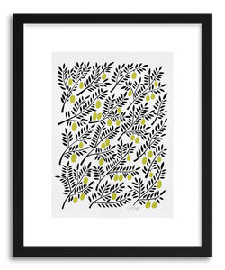 hide - Art print Yellow Olive Branches by artist Cat Coquillette in white frame