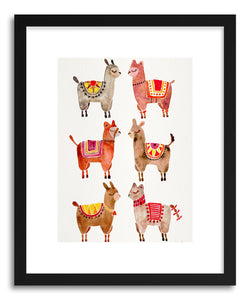 hide - Art print Alpacas by artist Cat Coquillette in natural wood frame