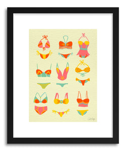 hide - Art print Bikini Yellow by artist Cat Coquillette in natural wood frame