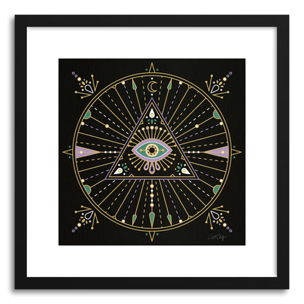 Art print Black Evil Eye Mandala by artist Cat Coquillette