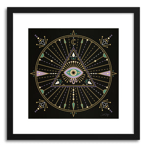 hide - Art print Black Evil Eye Mandala by artist Cat Coquillette in natural wood frame