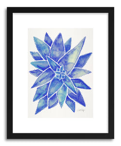 hide - Art print Blue Aloe Vera by artist Cat Coquillette in natural wood frame
