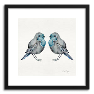 hide - Art print Blue Birds by artist Cat Coquillette in white frame