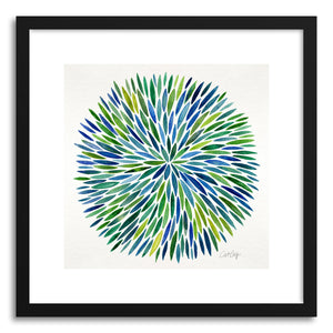 hide - Art print Blue Watercolor Burst by artist Cat Coquillette in white frame