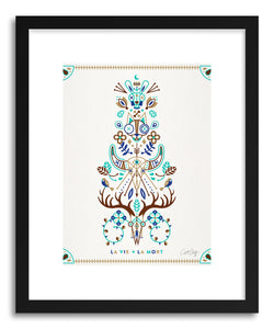 hide - Art print Brown Turquoise La Mort by artist Cat Coquillette in natural wood frame