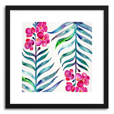 Art print Fuchsia Indigo Orchid Bloom Pattern by artist Cat Coquillette