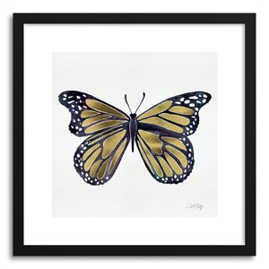 hide - Art print Gold Butterfly by artist Cat Coquillette in natural wood frame