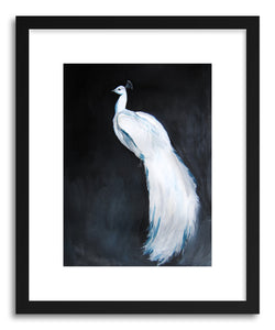hide - Art print White Peacock No.2 by artist Christine Lindstorm in natural wood frame