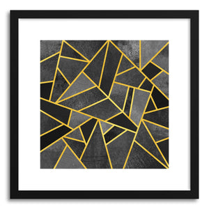 hide - Art print Grey Stone by artist Elisabeth Fredriksson in natural wood frame