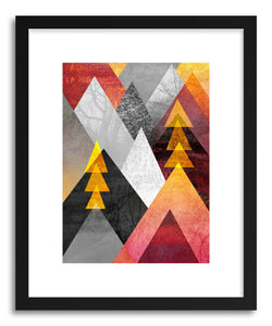 hide - Art print Mountaintops by artist Elisabeth Fredriksson in natural wood frame