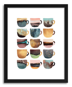 hide - Art print Earthy Coffee Cups by artist Elisabeth Fredriksson in natural wood frame