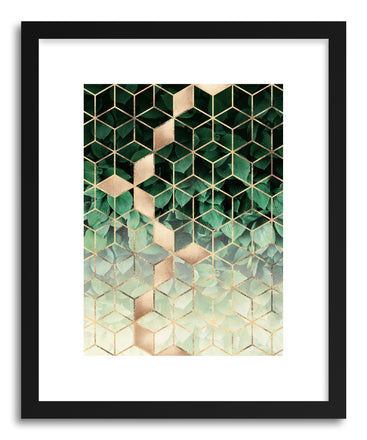 Art print Leaves And Cubes by artist Elisabeth Fredriksson