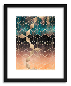 hide - Art print Ombre Dream Cubes by artist Elisabeth Fredriksson in white frame