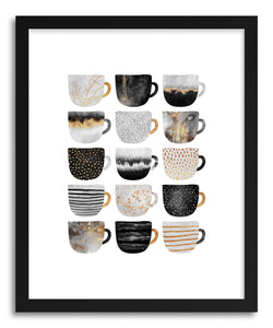hide - Art print Pretty Coffee Cups by artist Elisabeth Fredriksson in white frame