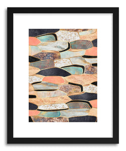 hide - Art print Pretty Stone by artist Elisabeth Fredriksson in natural wood frame