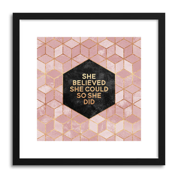 Art print She Believed She Could by artist Elisabeth Fredriksson