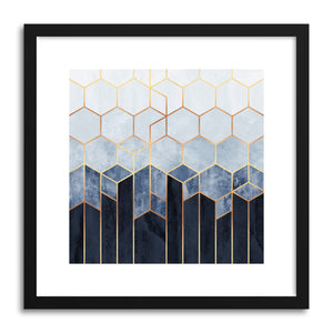 Art print Soft Blue Hexagons by artist Elisabeth Fredriksson