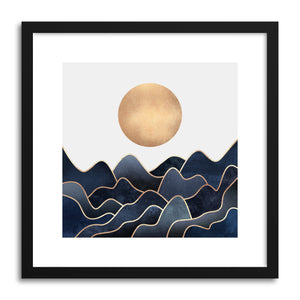 hide - Art print Waves by artist Elisabeth Fredriksson in natural wood frame