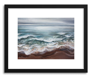 hide - Art print Wild Sea by artist Hannah Mode in natural wood frame
