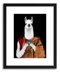 hide - Art print Dalai Llama by artist Paul Virlan in natural wood frame