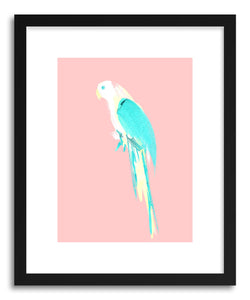 hide - Art print Summer Parrot by artist Robert Farkas in white frame