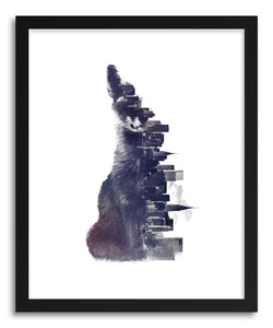 hide - Art print Fox From The City by artist Robert Farkas in natural wood frame