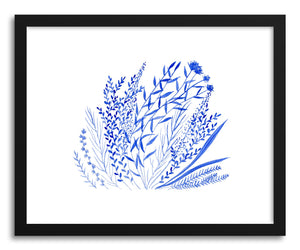 hide - Art print Blue Wild Flowers by artist Tiffany Wong in natural wood frame